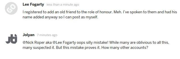 Lee Fogarty claims he registered to add an old friend to the honour roll