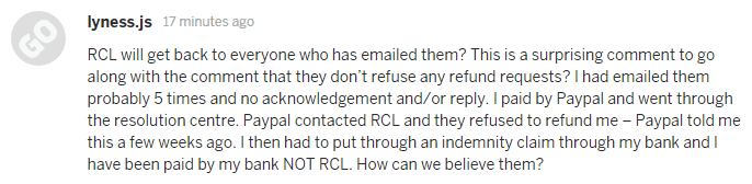 RCL refused to refund a PayPal backer