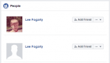 Facebook search now shows two Lee Fogarty profiles