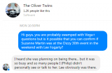 Oliver Twins did not see Suzanne Martin at the Dizzy 30th event