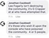 Delusional Jonathan Cauldwell still blaming George for destroying the community