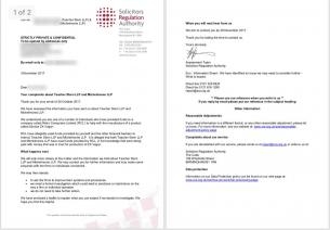 Solicitors Regulation Authority reply