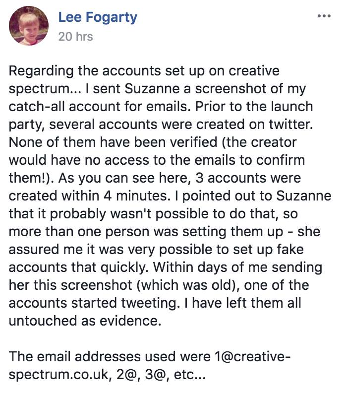 Suzanne Martin sets up fake twitter accounts using Creative Spectrum emails
