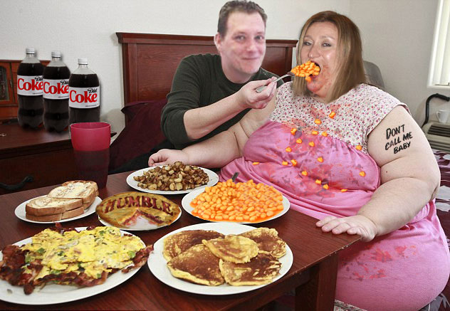 Lee Fogarty spills the beans on Suzanne Martin, fat obese woman eating beans
